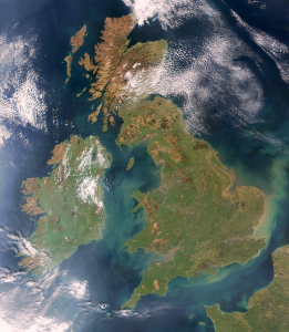 Satellite image of the UK